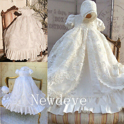 Vintage Robe Baby Baptism Dresses Christening Gowns Lace Beading Bonnet 0-24M