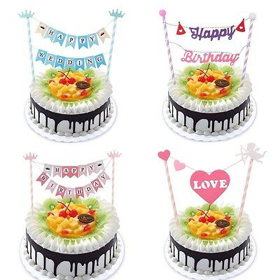 Happy Birthday Cake Topper Bunting Flag Banner Party Wedding Cake Decoration
