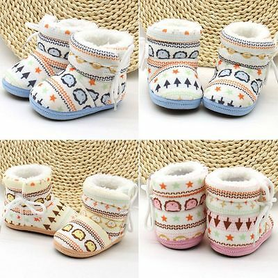 Baby Kid Boys Girl Winter Warm Snow Boots Infant Toddler Soft Slipper Crib Shoes