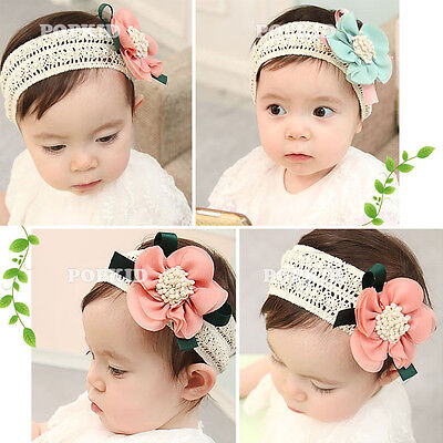 Cute Baby Kid Girl Toddler Lace Flower Headband Hair Band Accessories Headwear