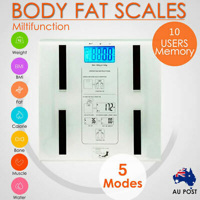 Digital Body Fat Scale Bathroom LCD Display Weight Muscle Electronic Water AU