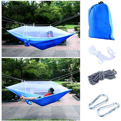 【Ships from CA】Outdoor Hammock Nylon and Free Tree Straps Set With Mosquito Net