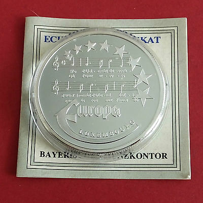 LUXEMBOURG 1997 EUROPE COMMEMORATIVE 40mm .999 FINE SILVER PROOF MEDAL - coa