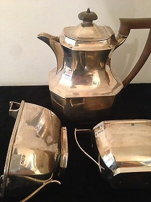 Antique Art Deco Solid Silver Tea Set By Thomas Bradbury & Sons Sheffield 1933