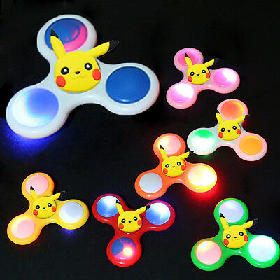 Pokemon GO Pikachu LED light Fidget Hand Spinner Finger Toy EDC Focus Gift Gyro
