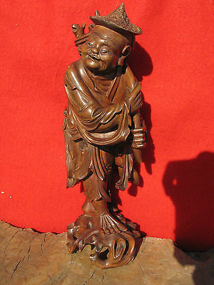 A1036 19th C Chinese Hand Carved Wood Statue of A Man 12-1/2""