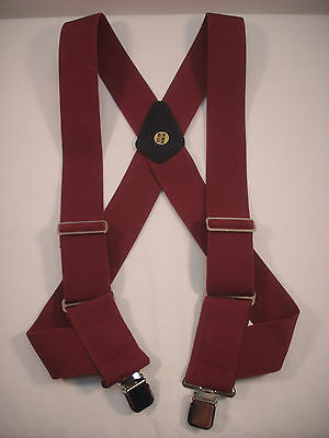"New, Men's, Burgundy, XL, Adj., 2"", Side Clip Suspenders / Braces, Made in USA"