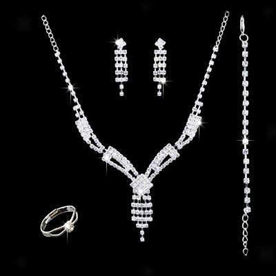 Wedding Bridal Jewelry Diamante Crystal Necklace Earrings Sets Bracelet Ring