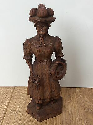 Vintage Black Forest Figure Wooden Hand Carved Lady Fruit Flowers Statue