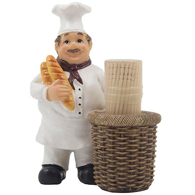 Decorative Toothpick Holder Chef Figurine Display Stand Country Cottage Kitchen