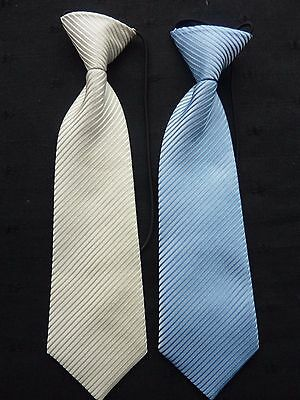 Ties On Elastic For Boys/children/kids **now Only In Ivory Stripes**