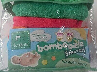 Tots Bots bamboozle stretch Reusable Washable Nappies-Size 2 - 5 Pack Brand New