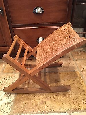 VINTAGE WOODEN ROCKING FOOT STOOL for GOUT PAIN RELIEF WICKER & WOOD OTTOMAN