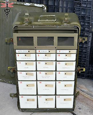 32x20x11 Aluminum Watertight Military Medical Supply Chest 22 Drawers MedChest