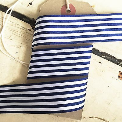 Navy and White Nautical Stripe Ribbon 25mm Per 1M or *SAVE* with 25M roll