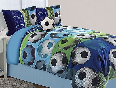 All American Collection 4 Piece Full Size Soccer Comforter Set with Furry Friend