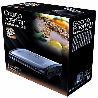 George Foreman Entertaining 7-Portion Grill Fat Reducing Grilling Machine Silver