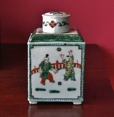 antique porcelain chinese tea jar caddy canister children export hand painted