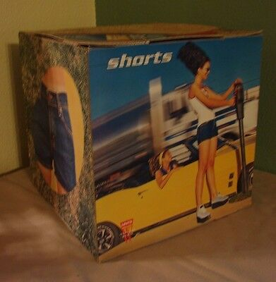 """Vintage Levis Store Display Advertising 12"""" Cube Box """"Jeans for Woman"""" Shorts"""