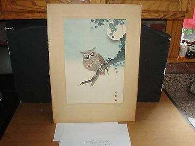 Antique Vintage Matted Japanese Print of an OWL Signed Bairei