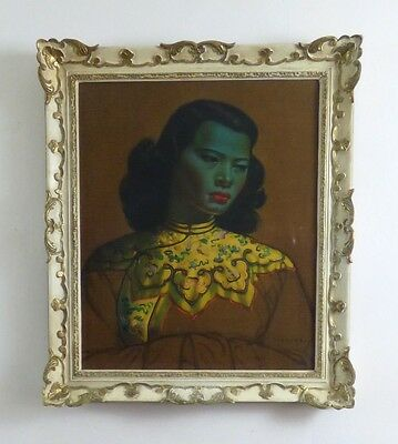Vintage Retro Tretchikoff Chinese Girl Green Lady Original Framed Canvas Print