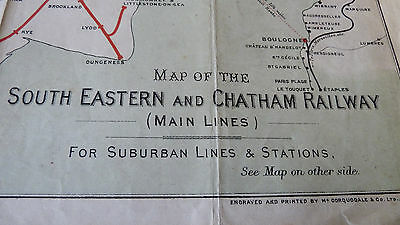 Antique Railway Map South Eastern  & Chatham Main Lines Suburban & Stations