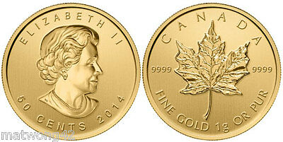 GOLD 1 gram 50 cents MAPLE LEAF COIN CANADA .9999 PURE BULLION 2015 2016, 2017