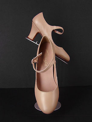 "New CAPEZIO Character Shoes 7M Manhattan 2.5"" Heel Caramel #653 Theater Dance"