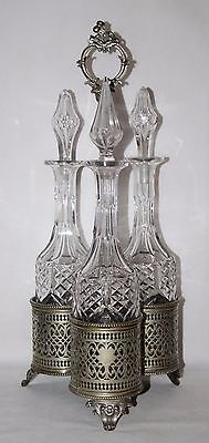 Antique Victorian Silver Plated Triple Decanter Stand with 3 Crystal Decanters