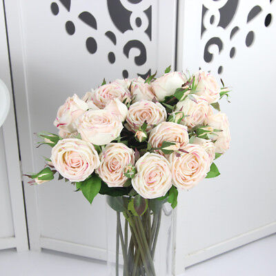 Big Artificial Rose Peony Silk Flower Leaf Bouquet Home Floral Bridal Real Touch