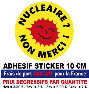 adhesif sticker NUCLEAIRE NON MERCI Look VINTAGE 70'S