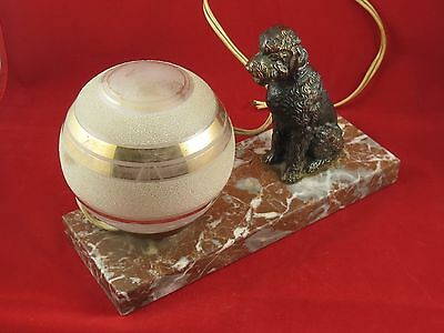 Charming Art Deco Globe Light Lamp With Poodle On Marble Base