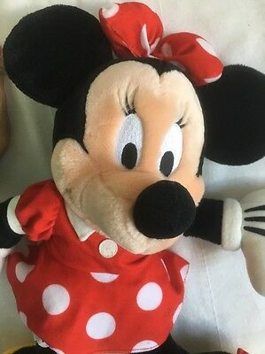 "Disney Authentic Patch Minnie Mouse BIG Red Polka Dot Plush Toy 19"" Doll"