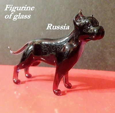 American Staffordshire Terriers blown glass figurine Souvenirs Russia Pit Bull