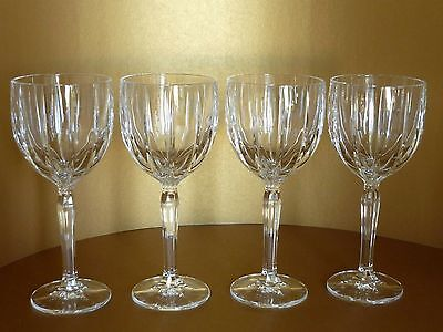 """Set of 4 Waterford Crystal Glass Marquis Omega Stem Wine Water Goblets 8 1/2"""" T"""