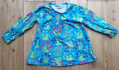 Polarn O Pyret Baby Girl 18-24 Months Top Green Blue Floral Long Sleeved 92