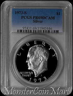 1973-S Silver Eisenhower Dollar PCGS PR69DCAM - KEY TO THE SERIES !!