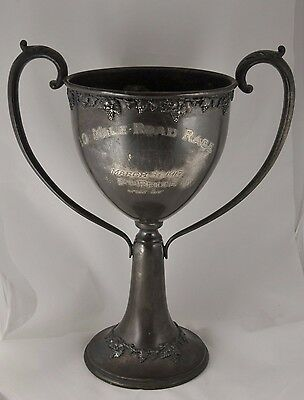 """1917 """"2ND PLACE ROAD RACE"""" VINTAGE ANTIQUE SPORTS TROPHY CUP ENGRAVED 12"""" tall"""