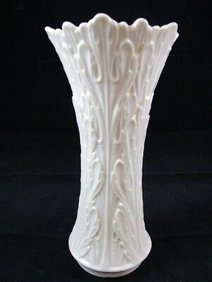 Vintage Lenox Porcelain China White Ivory Woodland Flower Vase 8.5 Inches USA