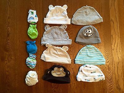 Infant Boys 0-6 Months Hats & Scratch Proof Mittens Lot Multi-color