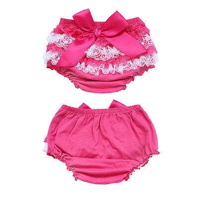 Newborn Baby Girls Ruffle PP Pants Toddler Kids Bloomers Shorts Nappy Cover Pink