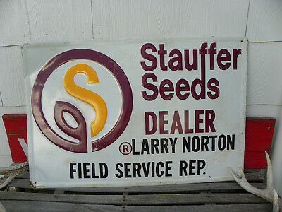 Vintage Large Metal Germain's Seeds Sold Here Advertisement Sign ~ Green Yellow