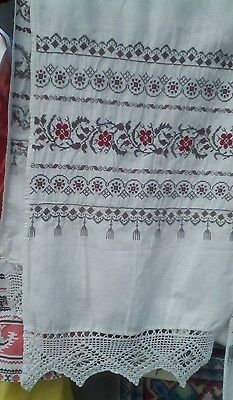 Hand embroidery  antique towel 19th