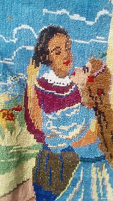 """Hand embroidery on linen fabric """"Ruslan and Lyudmila"""" antique 19th"""
