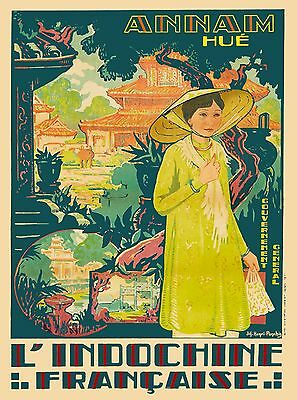 Vietnam Annam Hue L'Indochine Vintage Asian Travel Advertisement Art Poster