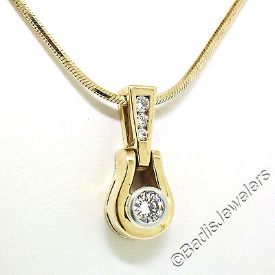 "14k Yellow Gold 0.35ctw Round Diamond Solitaire Slide Pendant w/ 18"" Snake chain"