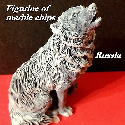 Wolf figurine marble chips sculpture realistic Souvenirs Russia wild animals