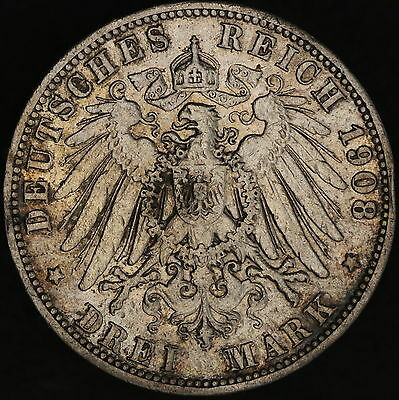 German States - Prussia: 3 mark 1908 A