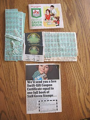 Vintage Lot Of S & H Green Stamps Plus Saver Book--Over 500 Stamps!!