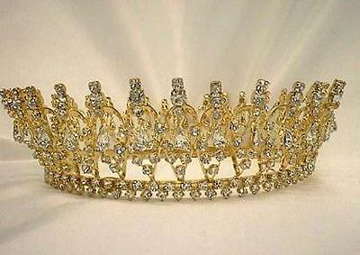 #915 Renaissance Pageant Crown Sparkling Clear Crystals in Gold-tone metal